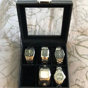 5 fossil watches with fossil watch case